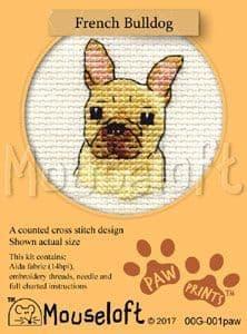Mouseloft French Bulldog Paw Prints cross stitch kit